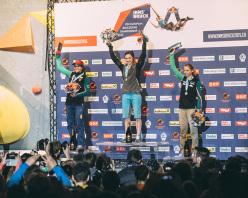 Podio femminile del Campionato Europeo di Boulder a Innsbruck: da sx a dx Anna Stöhr, Juliane Wurm, Katharina Saurwein