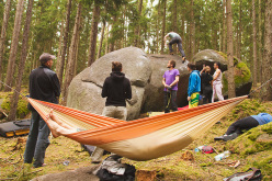 During the Petrohradske Padani Festival 2015, the bouldering festival at Petrohrad, Czech Republic