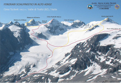 Cima Tuckett in the Trafoi - Thurwieser subgroup, Ortles - Cevedale massif, Stelvio National Park, Italy. The ski touring routes from Franzenshöhe and the Stelvio pass.