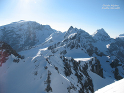 Cima Tuckett ski mountaineering: Ortles - Thurwieser- Trafoier group and Gran Zebrù on the right