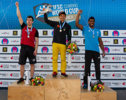 Male podium of first stage of the Speed World Cup 2015 at Central Saanich in Canada: Macin Dzienski, Qixin Zhong, Bassa Mawem