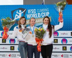 Female podium of the first stage of the Speed World Cup 2015 at Central Saanich in Canada: Mariia Krasavina, Iuliia Kaplina, Anna Tayganova