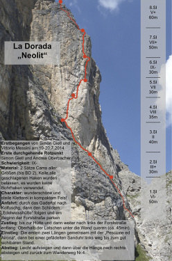 Simon Gietl and Vittorio Messini making the first ascent of Neolit, Piz dla Dorada, Puez, Dolomites