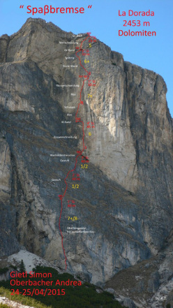 Simon Gietl and Andrea Oberbacher making the first ascent of Spaßbremse, Piz dla Dorada, Puez, Dolomites