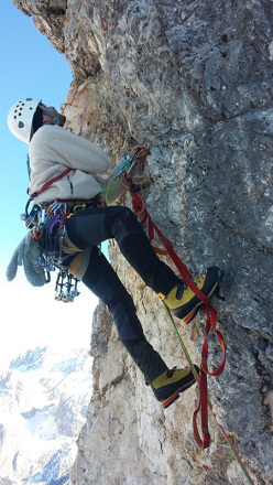During the first winter ascent of  Via Esposito – Butta up the North Face of Langkofel, Dolomites: Giorgio Travaglia on the last demanding pitch of the climb.