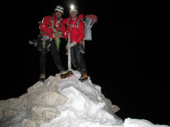 During the first winter ascent of  Via Esposito – Butta up the North Face of Langkofel, Dolomites: on the summit