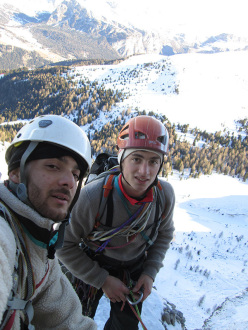 During the first winter ascent of  Via Esposito – Butta up the North Face of Langkofel, Dolomites:Giorgio Travaglia and Alex Walpoth on the route