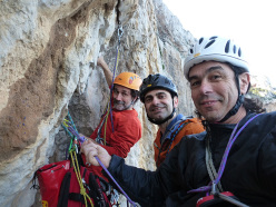 Selfie at the second belay of Nato due volte, Monte Gallo, Sicily: Eugenio Pinotti, Mauro Florit & Fabrice Calabrese