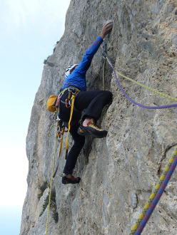 During the first ascent of pitch 7 of Nato due volte, Monte Gallo, Sicily