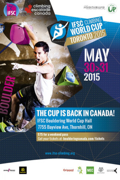 The first stage of the Bouldering World Cup 2015 will take place in Toronto, Canada
