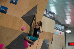 Juliane Wurm competing in the Bouldering World Cup 2015 at Toronto