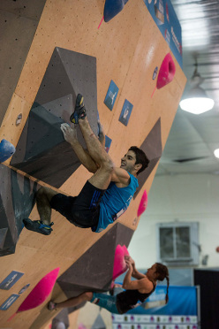 Alban Levier competing in the Bouldering World Cup 2015 at Toronto