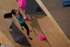 Alex Puccio competing in the Bouldering World Cup 2015 at Toronto