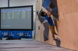 Kokoro Fujii competing in the Bouldering World Cup 2015 at Toronto