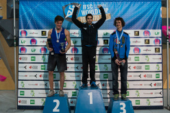 Male podium of the Bouldering World Cup 2015 at Toronto: Nathaniel Coleman, Alban Levier, Adam Ondra