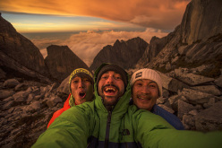 Sachi Amma, Eddie Gianelloni and Yuji Hirayama on Mt Kinabalu, Borneo