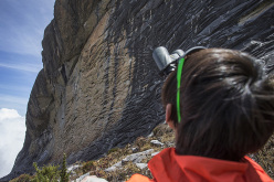 Sachi Amma inspecting new lines on Mt Kinabalu, Borneo