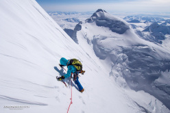 Jon Griffith and Will Sim making the first ascent of the  NW Face of Mt Deborah in Alaska, April 2015