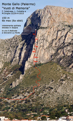 Making the first ascent of Vuoti di Memoria (6b max (6a obl), 150m Fabrice Calabrese, Luigi Cutietta and Maurizio Oviglia, 22 & 24/04/2015) up Monte Gallo, Sicily