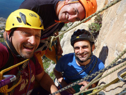 Fabrice Calabrese, Maurizio Oviglia and Luigi Cutietta making the first ascent of Vuoti di Memoria (6b max (6a obl), 150m) up Monte Gallo, Sicily