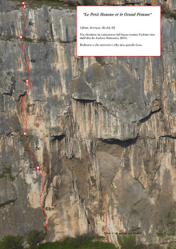 Le Petit Homme et la Grande Femme (120m, 6c+ max, 6b obblig), aperta da Andrea Simonini sulla parete Eldorado, Chiusa di Ceraino