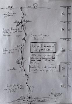 Andrea Simonini durante l'apertura di Le Petit Homme et la Grande Femme (120m, 6c+ max), sulla parete Eldorado, Chiusa di Ceraino