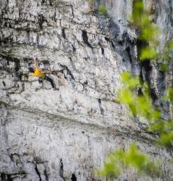 Ben Moon climbing Rainshadow 9a at Malham Cove, England