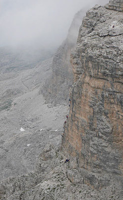 Piz da Lec - The steep ladder on the final section