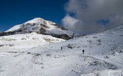 Piz Boe' - The path towards the summit after a summer snow storm