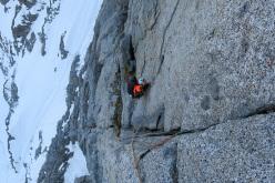 Durante la prima salita di Il Male di Vivere (300m , 45° M 7a+ (VIII+) R3, Paolo Baroldi, Francesco Salvaterra e Alessio Tait 02-03/06/2015), Monte Bianco di Presanella