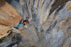 Angela Eiter climbing at Baum des Lebens 8c+ at Nifada, Greece
