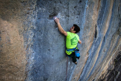 Stefano Ghisolfi makign a rare repeat of Biographie 9a+ at Ceuse in France