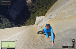 Alex Honnold climbing The Nose on El Capitan in Yosemite for Google Street View