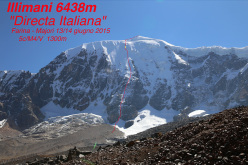 Illimani South Face and the Directa italiana (5c/M4, V, 1300m), first climbed by Marco Farina and Marco Majori on 12-13/06/2015