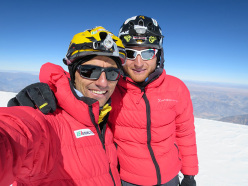 Illimani South Face: Marco Farina and Marco Majori on the summit after having made the first ascent of Directa italiana (5c/M4, V, 1300m)