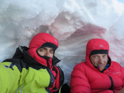 Illimani South Face: Marco Farina and Marco Majori at the bivy during the first ascent of Directa italiana (5c/M4, V, 1300m)
