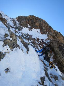 Illimani South Face sudMarco Farina and Marco Majori making the first ascent of Directa italiana (5c/M4, V, 1300m)