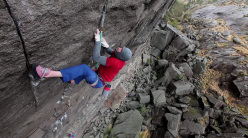 Tom Randall and Pete Whittaker attempting to repeat The recovery drink on the Profilveggen / Profile wall at Jøssingfjord in Norway