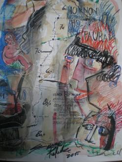 Lo schizzo della via Io non ho paura (225m, max 8b+, 7b obl.,  Simone Pedeferri, Alberto Marazzi), Scoglio della Metamorfosi, Val di Mello