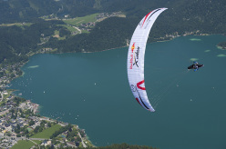 Stefan Gruber (AUT3) performs at the Red Bull X-Alps preparations at Zwoelferhorn, Austria