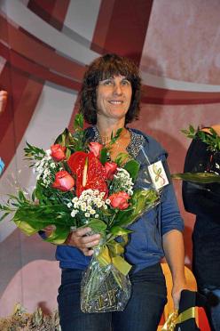 Catherine Destivelle il 2 luglio 2015, protagonista della serata di apertura della settima edizione di Cortina In Croda.