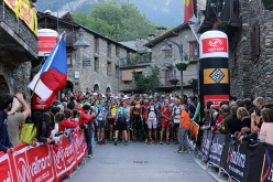 The start of the mountain trail running competition Andorra Ultra Trail Vallnord 2015