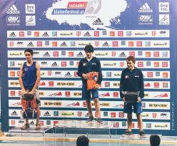European youth bouldering cup Längenfeld: 1 Pietro Biagini, 2 Petar Ivanov, 3 Filip Schenk