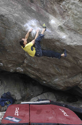 Bernd Zangerl  repeating Dave Graham's 2005 Chironico problem, From  dirt grows the flowers F8c