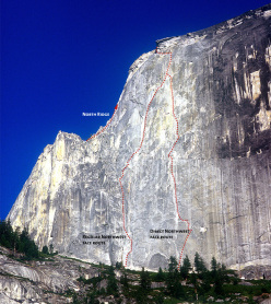The Regular Northwest Face route on Half Dome, Yosemite Valley, first climbed by Royal Robbins, Jerry Gallwas and Mike Sherrick over five days in June 1957
