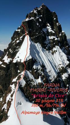 Arista de cice (IV/5b/M4/250m 05/2015 Marco Farina, Marco Majori, Aldo Riveros) Alpamayo Negro 5428m, Bolivia