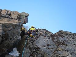 During the first ascent of the mixed climb Arista de cice (IV/5b/M4/250m 05/2015) Alpamayo Negro, Bolivia