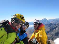 Marco Farina, Marco Majori and Aldo Riveros on the summit of Alpamayo Negro, Bolivia after making the first ascent of Arista de cice (IV/5b/M4/250m 05/2015)-