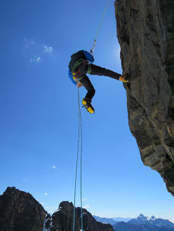 During the first ascent of the mixed climb Arista de cice (IV/5b/M4/250m 05/2015) Alpamayo Negro, Bolivia