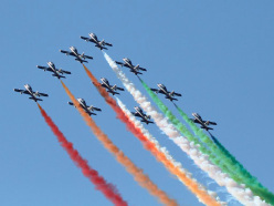 The Frecce Tricolori - the Italian Air Force aerobatic team - will fly past the Matterhorn Cervino to mark the start of the 150th anniversary of the first two ascents.